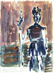Aztekarhøvding, olje på papir, 1999