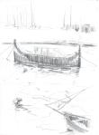 Båtar, Malta, blyant, 1999
