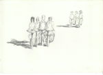 Orang pekerja paka Sikleta (arbeidarar med sykkel), Jogjakarta, blyant, 1998