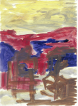 Teikn i landskap I, olje på papir, 1999