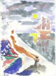 Ved solnedgang, akvarell, 1995