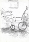 Warung kecil Korsi roda (rullestol-salgsvogn) II, Jogjakarta, penn, 2001