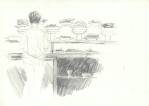 Warung makan kecil (liten eteplass), Jogjakarta, blyant, 1998